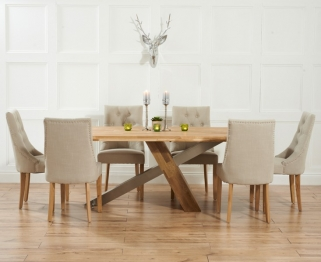 Mark Harris Montana Solid Oak and Metal 195cm Dining Table with 6 Pailin Beige Chairs