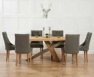 Mark Harris Montana Solid Oak and Metal 195cm Dining Table with 6 Pailin Grey Chairs