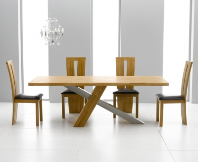 Mark Harris Montana Oak and Metal 225cm Dining Set with 4 Arizona Brown Dining chairs