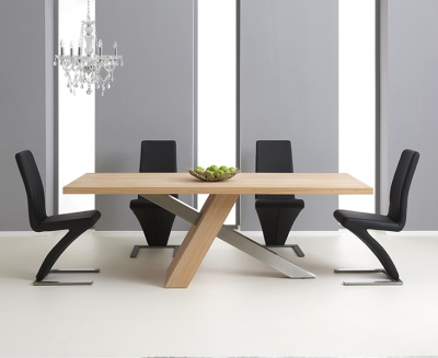 Mark Harris Montana Oak and Metal 225cm Dining Set with 4 Hereford Black Dining chairs