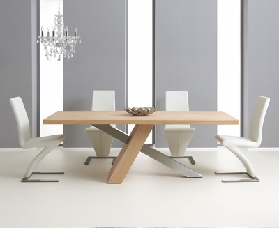 Mark Harris Montana Solid Oak and Metal 225cm Dining Set with 4 Hereford White Dining chairs