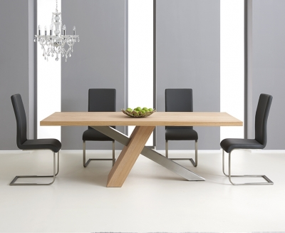 Mark Harris Montana Oak and Metal 225cm Dining Set with 4 Malibu Grey Dining chairs