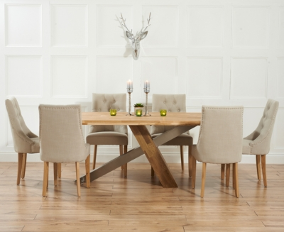 Mark Harris Montana Solid Oak and Metal 225cm Dining Set with 6 Pailin Beige Dining chairs