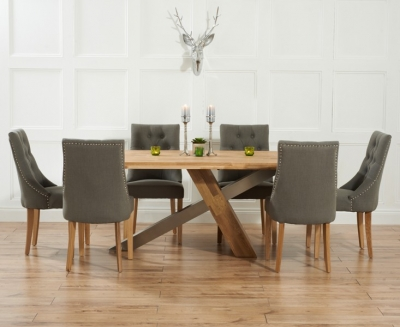 Mark Harris Montana Solid Oak and Metal 225cm Dining Set with 6 Pailin Grey Dining chairs