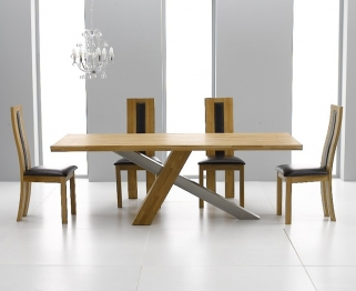 Mark Harris Montana Solid Oak and Metal 225cm Dining Table with 4 Havana Brown Chairs