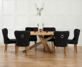 Mark Harris Montana Solid Oak and Metal 225cm Dining Table with 6 Kalim Black Chairs