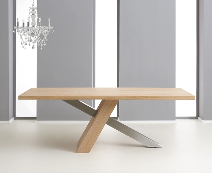 Mark Harris Montana Oak and Metal Dining Table - 225cm