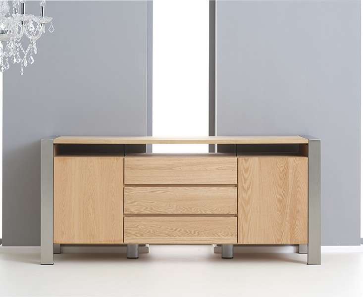 Mark Harris Montana Oak and Metal Sideboard - Large Wide 2 Doors 3 Drawers