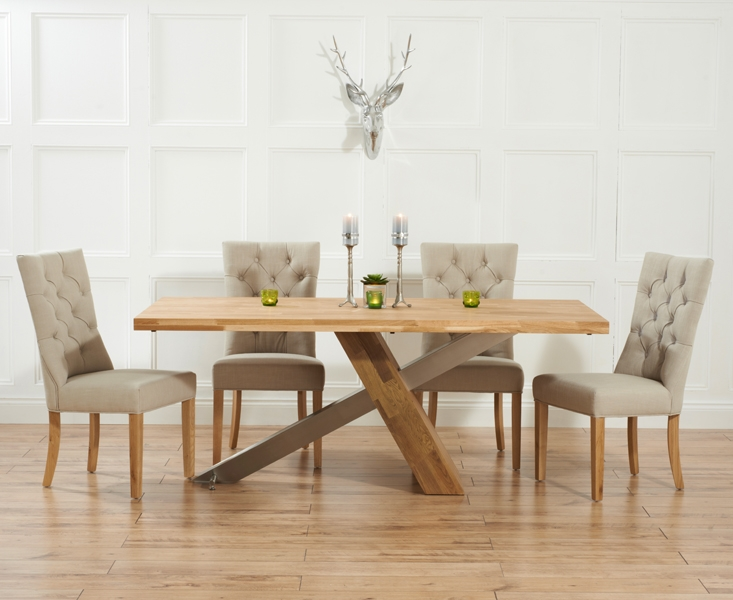 Mark Harris Montana Solid Oak and Metal 195cm Dining Set with 4 Albury Beige Dining chairs