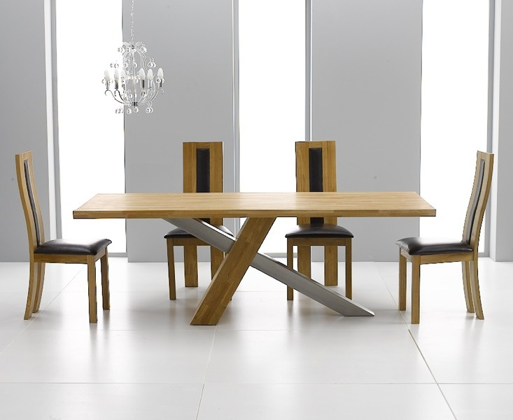 Mark Harris Montana Solid Oak and Metal 195cm Dining Table with 4 Havana Brown Chairs