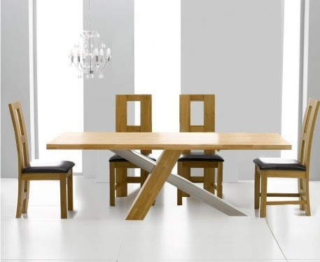 Mark Harris Montana Solid Oak and Metal 195cm Dining Table with 4 John Louis Brown Chairs