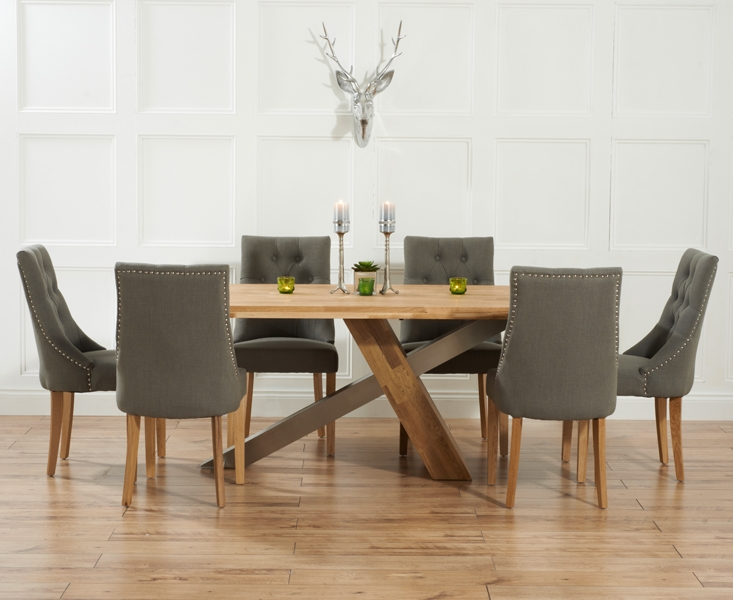 Buy Mark Harris Montana Solid Oak And Metal 195cm Dining Set With 6 Pailin Gr