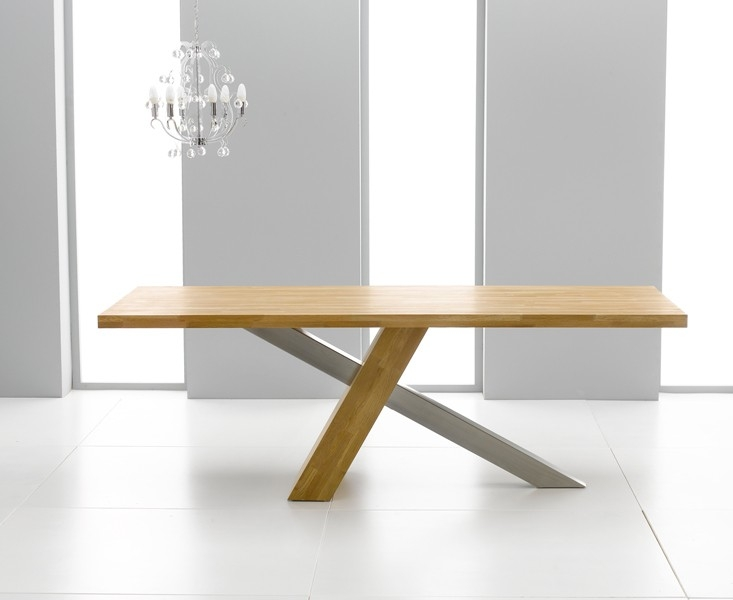 Mark Harris Montana Solid Oak and Metal 195cm Dining Table