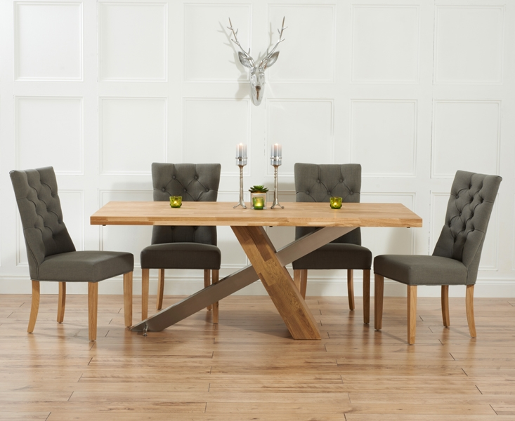 Mark Harris Montana Oak and Metal 225cm Dining Set with 4 Albury Grey Dining chairs