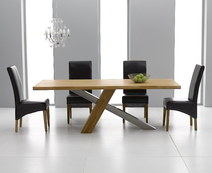 Mark Harris Montana Solid Oak and Metal 225cm Dining Table with 4 Roma Black Chairs