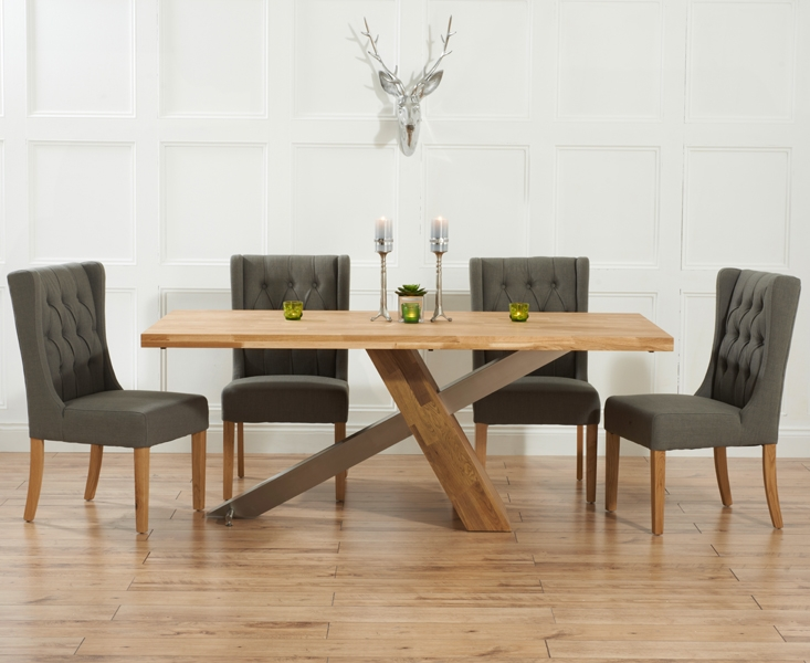 Mark Harris Montana Solid Oak and Metal 225cm Dining Table with 4 Stefini Grey Chairs
