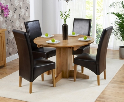 Mark Harris Monte Carlo Solid Oak 120cm Round Extending Dining Set with 4 Roma Brown Dining Chairs