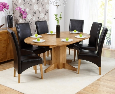Mark Harris Monte Carlo Solid Oak 120cm Round Extending Dining Set with 6 Roma Brown Dining Chairs