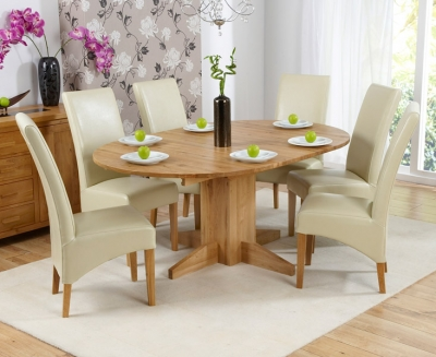 Mark Harris Monte Carlo Solid Oak 120cm Round Extending Dining Set with 6 Roma Cream Dining Chairs
