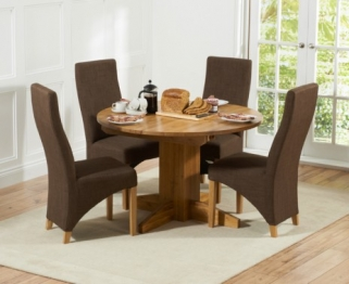 Mark Harris Monte Carlo Solid Oak 120cm Round Extending Dining Set with 4 Harley Cinnamon Brown Dining Chairs