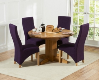 Mark Harris Monte Carlo Solid Oak 120cm Round Extending Dining Set with 4 Harley Plum Dining Chairs