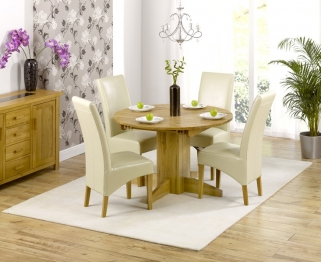 Mark Harris Monte Carlo Solid Oak 120cm Round Extending Dining Set with 4 Roma Cream Dining Chairs