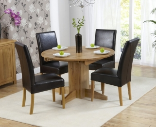 Mark Harris Monte Carlo Solid Oak 120cm Round Extending Dining Set with 4 Rustique Brown Dining Chairs