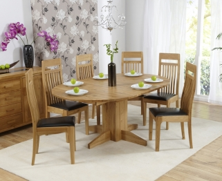 Mark Harris Monte Carlo Solid Oak 120cm Round Extending Dining Set with 6 Monte Carlo Brown Dining Chairs