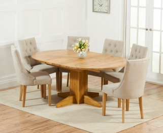 Mark Harris Monte Carlo Solid Oak 120cm Round Extending Dining Set with 6 Pailin Beige Dining Chairs