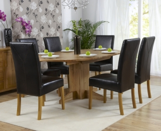 Mark Harris Monte Carlo Solid Oak 120cm Round Extending Dining Set with 6 Rustique Brown Dining Chairs