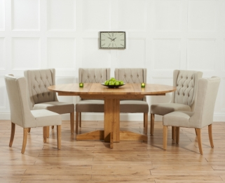 Mark Harris Monte Carlo Solid Oak 120cm Round Extending Dining Set with 6 Stefini Beige Dining Chairs