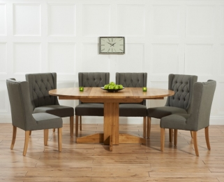 Mark Harris Monte Carlo Solid Oak 120cm Round Extending Dining Set with 6 Stefini Grey Dining Chairs