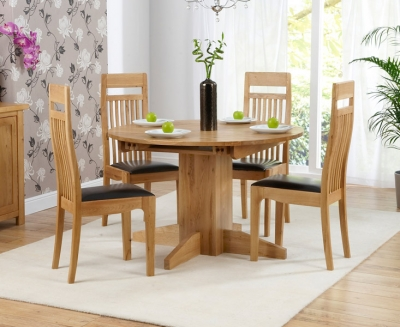 Mark Harris Monte Carlo Solid Oak Dining Set - 120cm Round Extending with 4 Brown Chairs