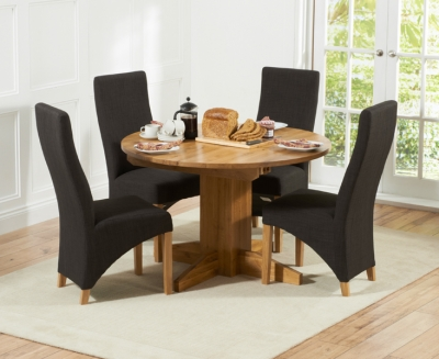 Mark Harris Monte Carlo Solid Oak Dining Set - 120cm Round Extending with 4 Harley Charcoal Chairs