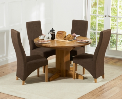 Mark Harris Monte Carlo Solid Oak Dining Set - 120cm Round Extending with 4 Harley Cinnamon Chairs