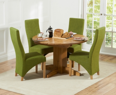 Mark Harris Monte Carlo Solid Oak Dining Set - 120cm Round Extending with 4 Harley Lime Chairs
