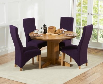 Mark Harris Monte Carlo Solid Oak Dining Set - 120cm Round Extending with 4 Harley Plum Chairs