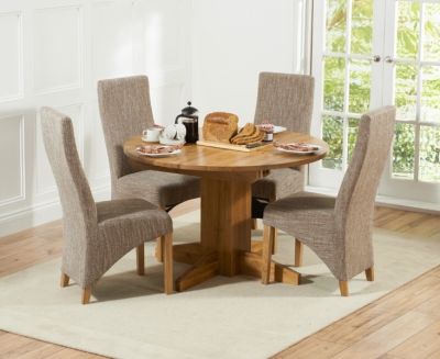 Mark Harris Monte Carlo Solid Oak Dining Set - 120cm Round Extending with 4 Harley Tweed Chairs