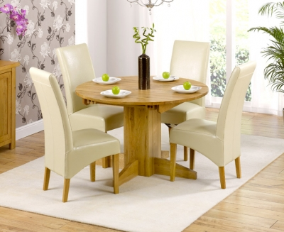 Mark Harris Monte Carlo Solid Oak Dining Set - 120cm Round Extending with 4 Roma Cream Chairs