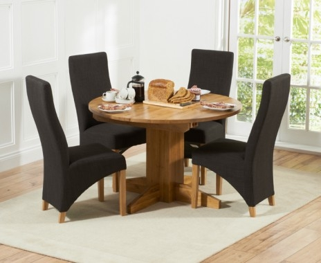 Mark Harris Monte Carlo Solid Oak 120cm Round Extending Dining Set with 4 Harley Charcoal Dining Chairs