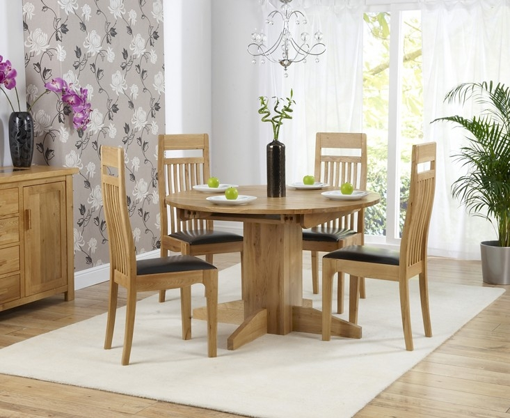 Mark Harris Monte Carlo Solid Oak 120cm Round Extending Dining Set with 4 Monte Carlo Brown Dining Chairs