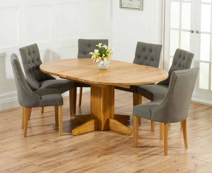 Mark Harris Monte Carlo Solid Oak 120cm Round Extending Dining Set With 6 Pailin Grey