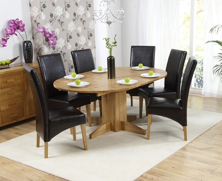 Mark Harris Monte Carlo Solid Oak 120cm Round Extending Dining Set with 6 Roma Black Dining Chairs