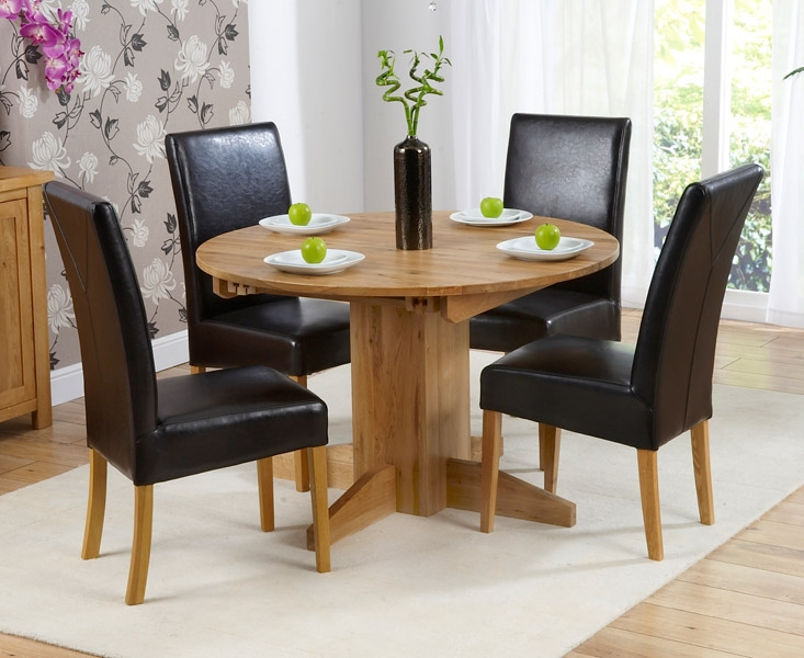 Mark Harris Monte Carlo Solid Oak Dining Set - 120cm Round Extending with 4 Rustique Brown Chairs