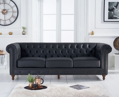 Mark Harris Montrose Black Leather 3 Seater Sofa