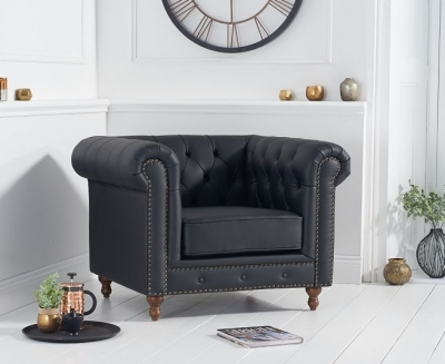 Mark Harris Montrose Black Leather Armchair