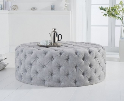 Mark Harris Montrose Grey Plush Large Round Footstool