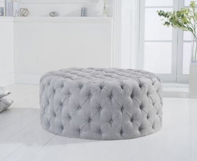 Mark Harris Montrose Grey Plush Round Footstool