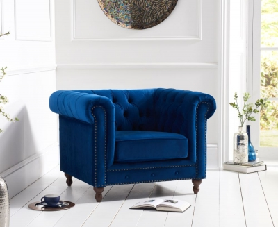 Mark Harris Montrose Blue Plush Fabric Armchair