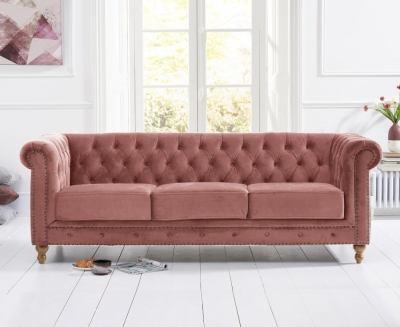 Mark Harris Montrose Blush Plush Fabric 3 Seater Sofa